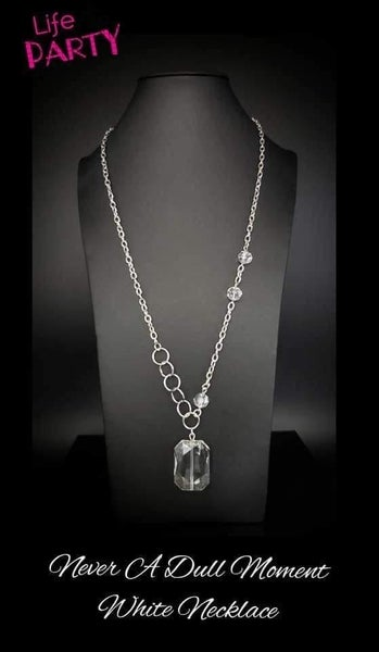 Never A Dull Moment - Silver with a Glassy White Crystal Necklace & Earrings - Life of the Party Exclusive