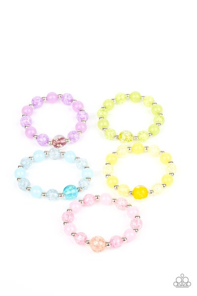 Assorted colors and shapes of Beads with a large Glassy centerpiece  Stretch Bracelet for Kids or the Kid at Heart