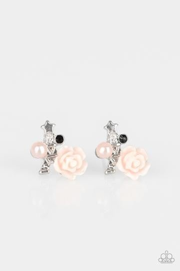 Eiffel Tower with a colorful Rose, Pearl & Rhinestone Post Back Earrings