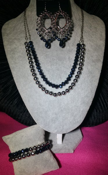 Color of the Day, Just say NOIR & Chroma Color - Silver with Metallic Glittery Blue Crystal 3 Piece Set