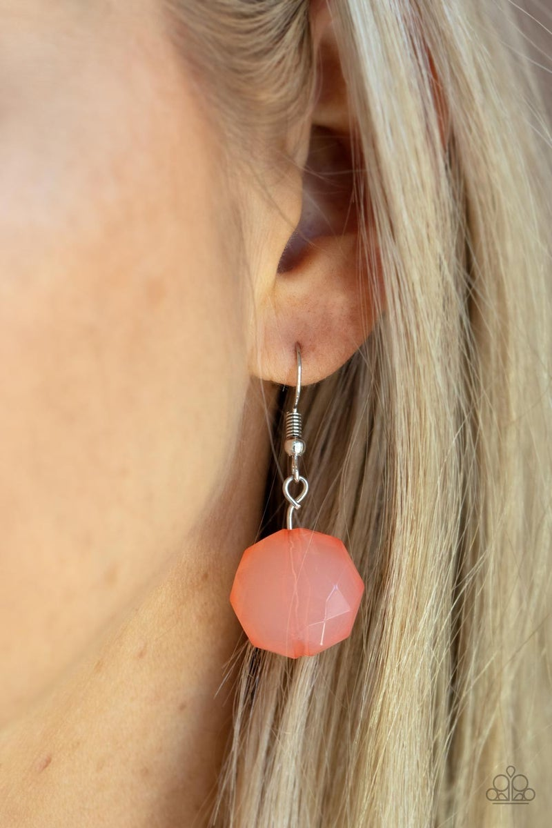DEW What You Wanna DEW - Orange Moonstone on Silver Necklace & Earrings