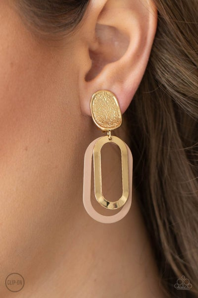 Pre0Order Melrose Mystery - Brown Iced Coffee and Gold Hoops dangle from a gold Clip On Earrings