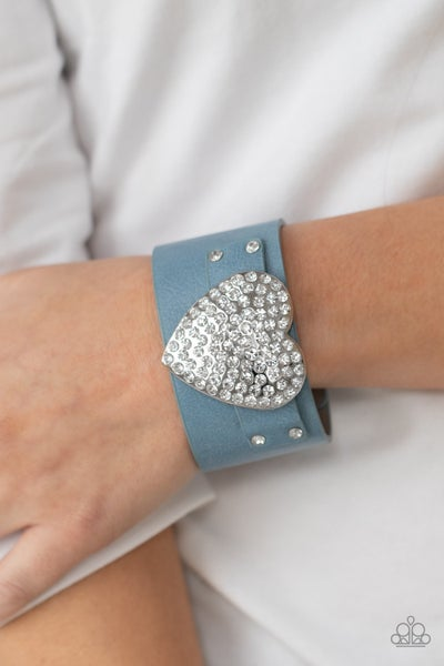 Flauntable Flirt - Blue Leather with Silver Heart encrusted in Rhinestones Snap Bracelet