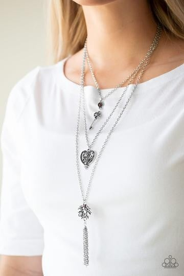 Love Opens All Doors - Silver layered chains with Valentine Charms & small Green Rhinestone accents Necklace & Earrings