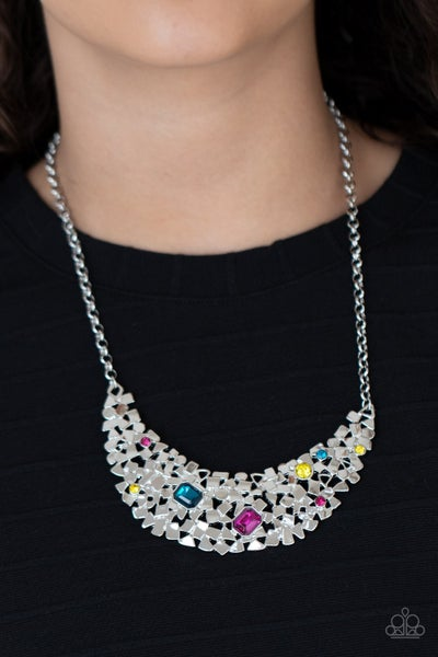 Fabulously Fragmented - Multicolor Rhinestones scattered across a Silver half-moon Necklace & Earrings