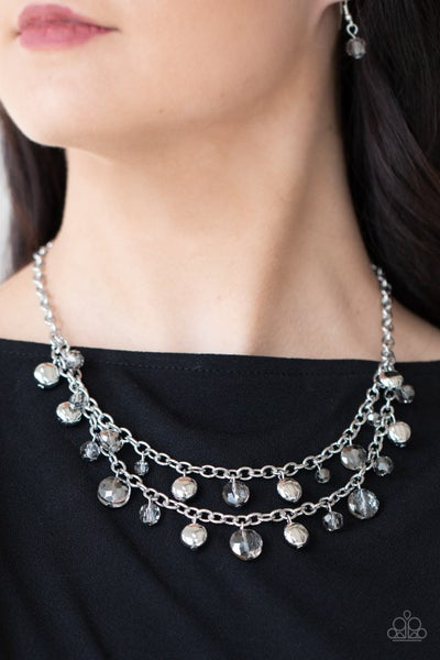 Pre-Order Ethereally Ensconced - Silver & Iridescent Smoky faceted Beaded Layered Necklace & Earrings