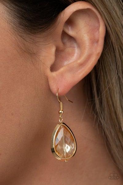Drop-Dead Duchess - Gold Teardrop Rhinestone Earrings