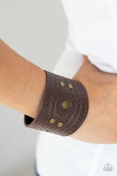 Orange County - Brown Leather with Brass studs Snap Bracelet