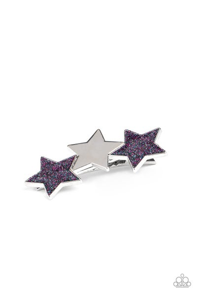 Dont Get Me STAR-ted! - Blue and Purple Rhinestone Star Hair Clip