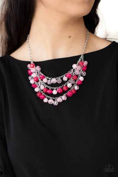 Pre-Sale Fairytale Timelessness - Layers of varying shades of Pink crystal beads Necklace & Earrings