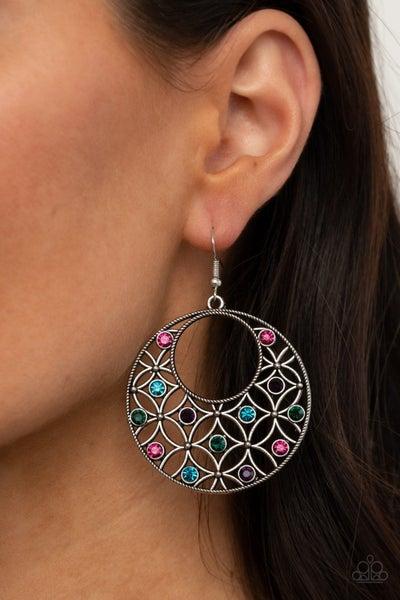 Garden Garnish - Silver with Multi-Colored Rhinestones Earrings