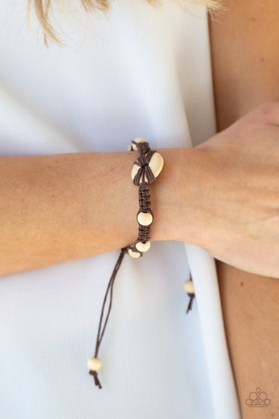 Pre-Sale The Road KNOT Taken - Brown Cordage with a Wooden Button Bracelet