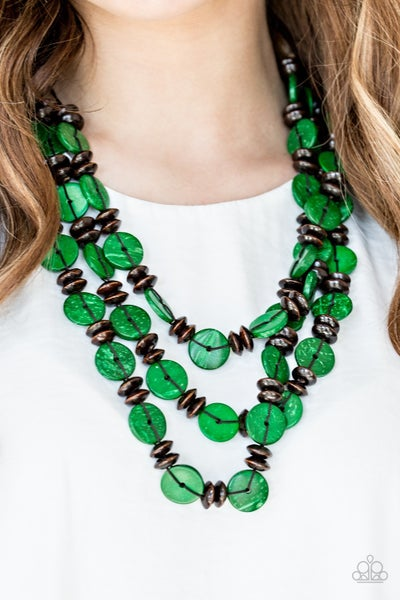 Pre-Sale Key West Walkabout - Green wooden discs & Brown wooden Beads Necklace & Earrings