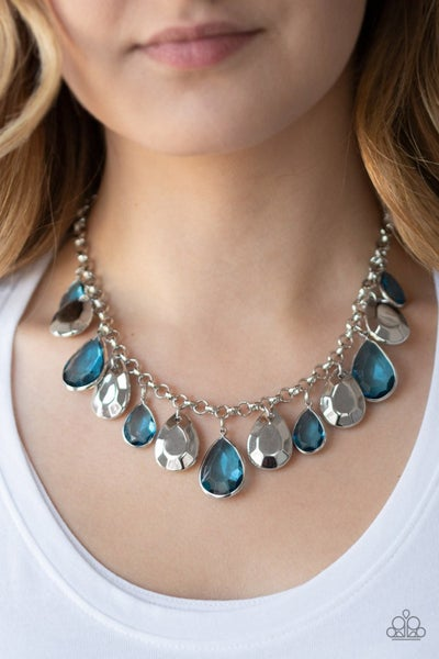 CLIQUE-bait - Silver with Teardrop Silver and Blue Rhinestones Necklace & Earrings