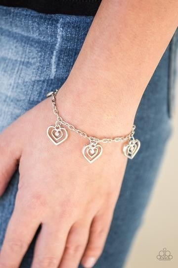 Unbreakable Hearts - Silver with Heart Charms & White Rhinestone Centers Bracelet