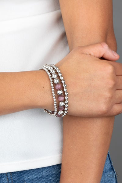 Always On The GLOW - Silver with Purple Moonstone Beads Bracelets