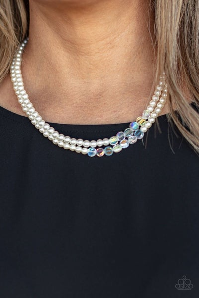 Poshly Petite - White Pearls in layers with a row of Iridescent accents Necklace & Earrings