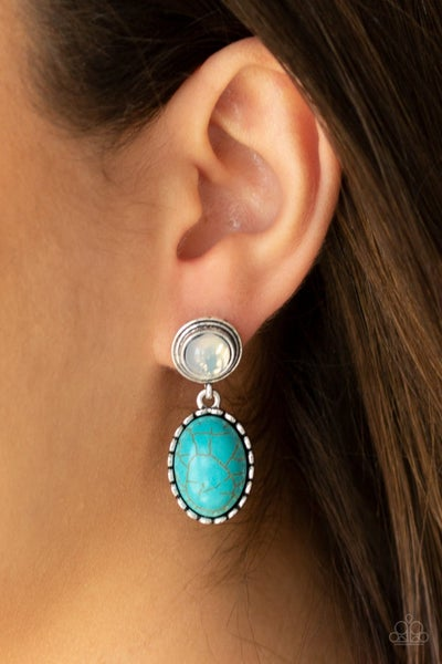 Western Oasis - Silver with Opal Post holding a dangling Oval Turquoise Stone Earrings