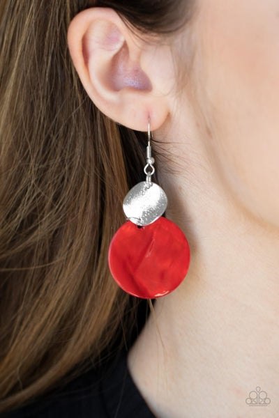 Pre-Order Opulently Oasis - Red  Shell-like disc on Silver disc Earrings