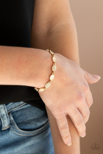Stop and GLOW - Gold with white rhinestones & gold moonstones Bracelet