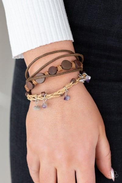 Run The Rapids - Brown Leather with Purple stone charms slip knot/pull tight Bracelet