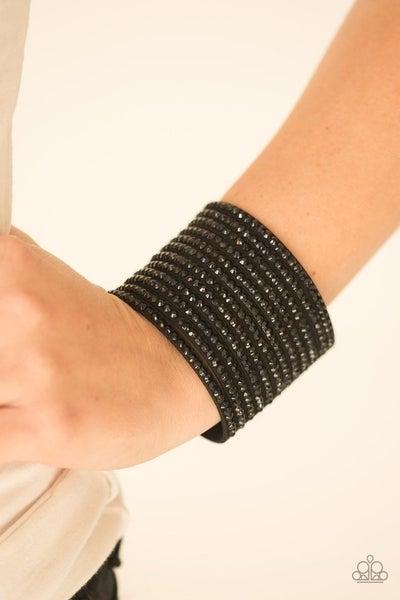 The Boss Is Back - Black Rhinestone Snap Bracelet