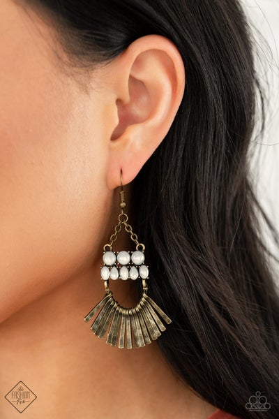 Pre-Order FLARE For Fierceness - Brass with White Opals Earrings