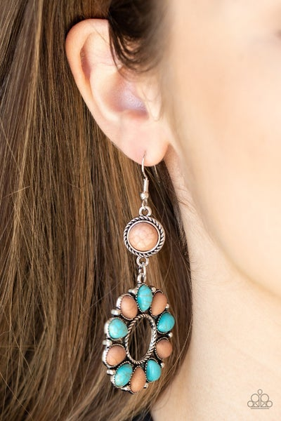 Back At The Ranch - Multi - Brown & Turquoise Earrings