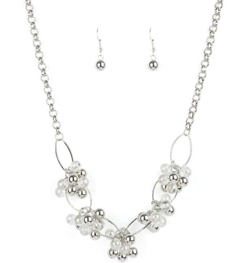 Effervescent Ensemble - Multi-Iridescent & Silver Beaded Necklace & Earrings - July 2021 Life of the Party Exclusive