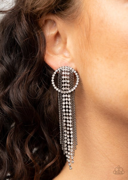 Dazzle by Default - Gunmetal with White Rhinestones Fringe Earrings