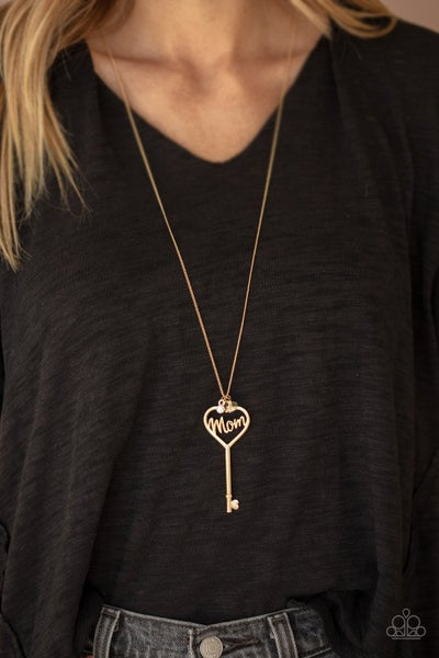 """The Key to Mom's Heart - Gold Key with the word """"Mom"""" & a Rhinestone Necklace & Earrings"""