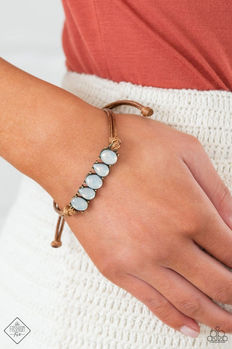 Pre-Order Opal Paradise  - Brown Cordage with Brass & White Opal Beads Slip Knot/Pull Tight Bracelet