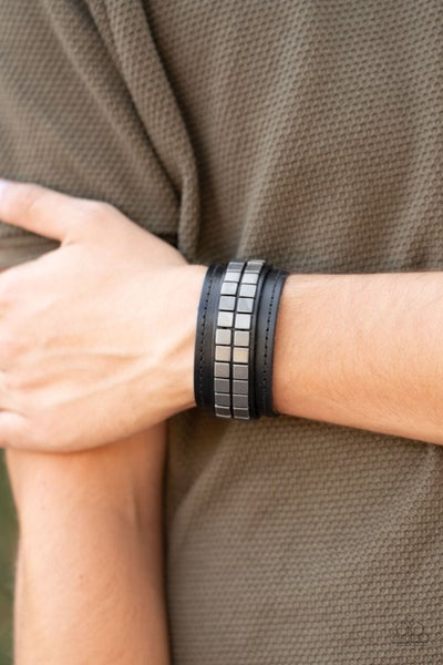 Engine Room - Black Leather with Silver Square Beading Snap Bracelet