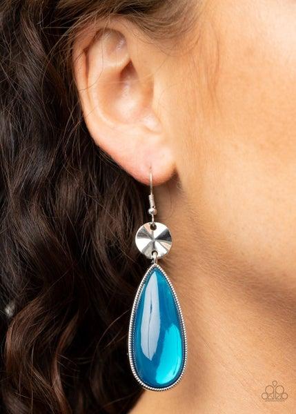 Jaw-Dropping Drama - Silver with Teardrop shaped Blue Moonstone Earrings