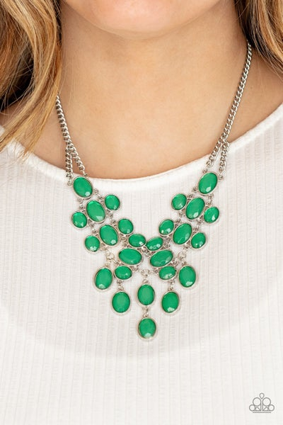 Serene Gleam - Green -mint oval gems layered &  dripping into a bib designed Necklace & Earrings