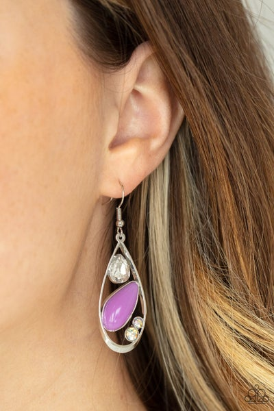 Harmonious Harbors​ - Silver with Purple Moonstone Earrings