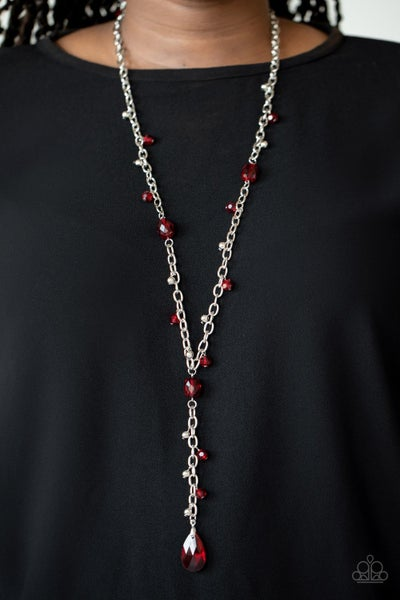 Afterglow Party - Silver & Red Crystal Necklace