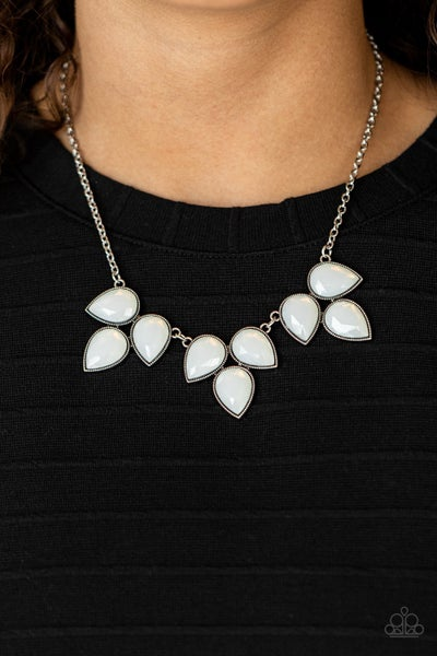 Prairie Fairytale - White Moonstone in Silver leafy frames Necklace & Earrings