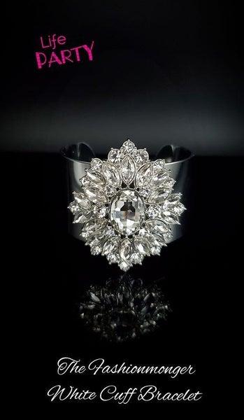 The Fashionmonger - Silver Cuff with White Rhinestone Cuff Bracelet