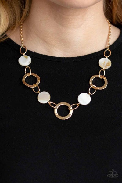 Bermuda Bliss – Gold with White Acyrlic Shells Necklace