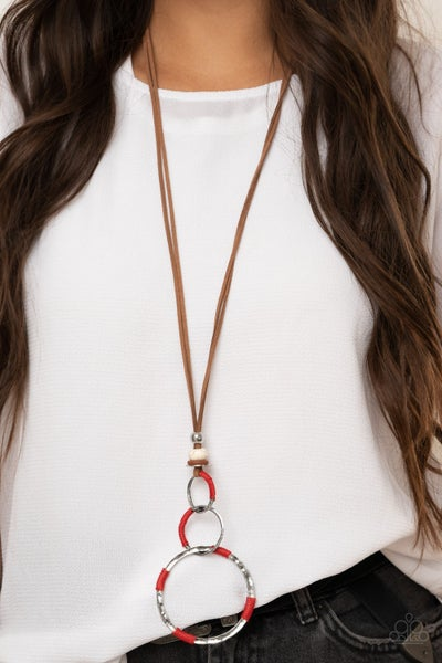 Pre-Sale Rural Renovation - Brown Leather with Silver Rings wrapped in Red Necklace & Earrings