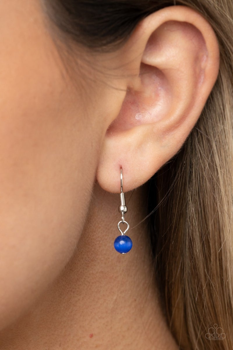Pre-Sale - One Can Only GLEAM - Silver with Oval Blue Cat's Eye Stones Necklace & Earrings