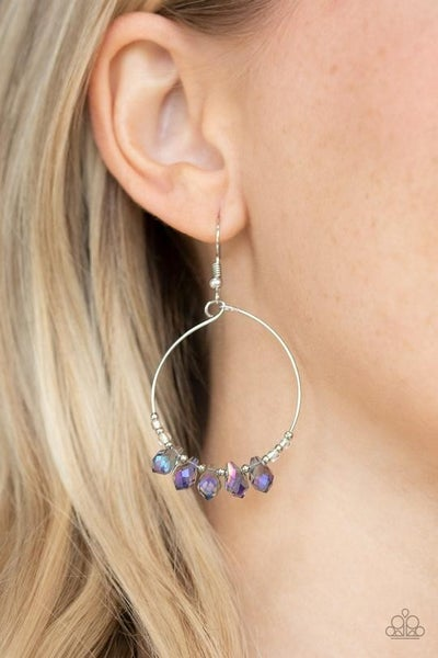 Holographic Hoops - Multi-Oil Spill Crystals drop from Silver Hoop Earrings