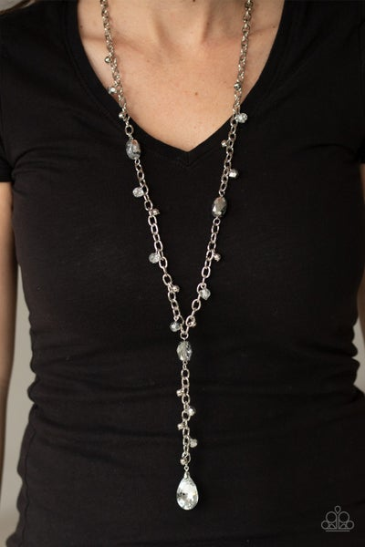 Afterglow Party - Silver Faceted Shiny Silver Necklace & Earrings