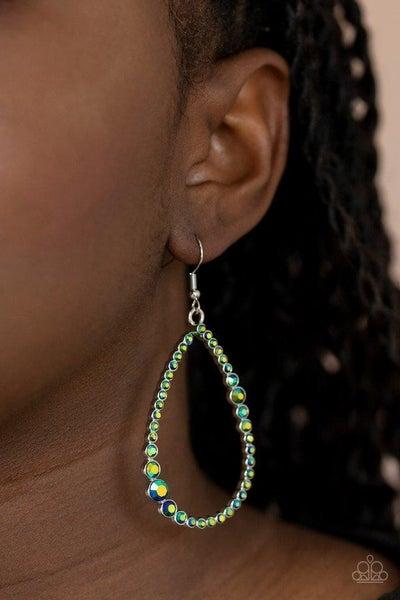 Diva Dimension - Teardrop Hoops with Iridescent Green Stones Earrings