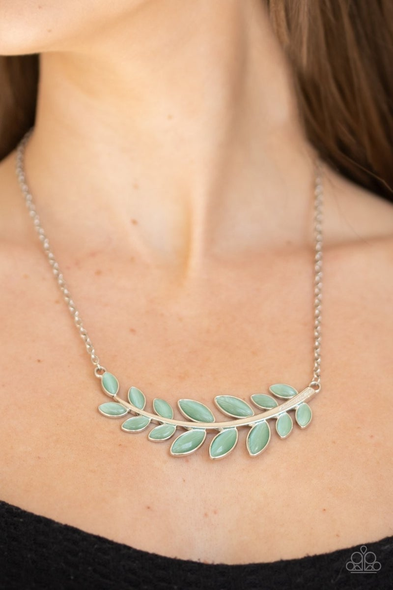 Frosted Foliage - Silver with Green Cat's Eye / Moonstone Gems Necklace & Earrings