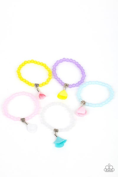 Assorted Colored Beaded with Satin Rose Bud dangles Stretch Bracelets for Kids or the Kid at Heart
