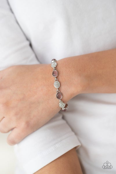 Stop and GLOW - Silver encrusted with white rhinestones and oval Purple Moonstone Beads Bracelet