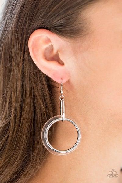 Circus Circuit - Silver Hoop Swing Separately from a Clear Acrylic Hoop Earrings