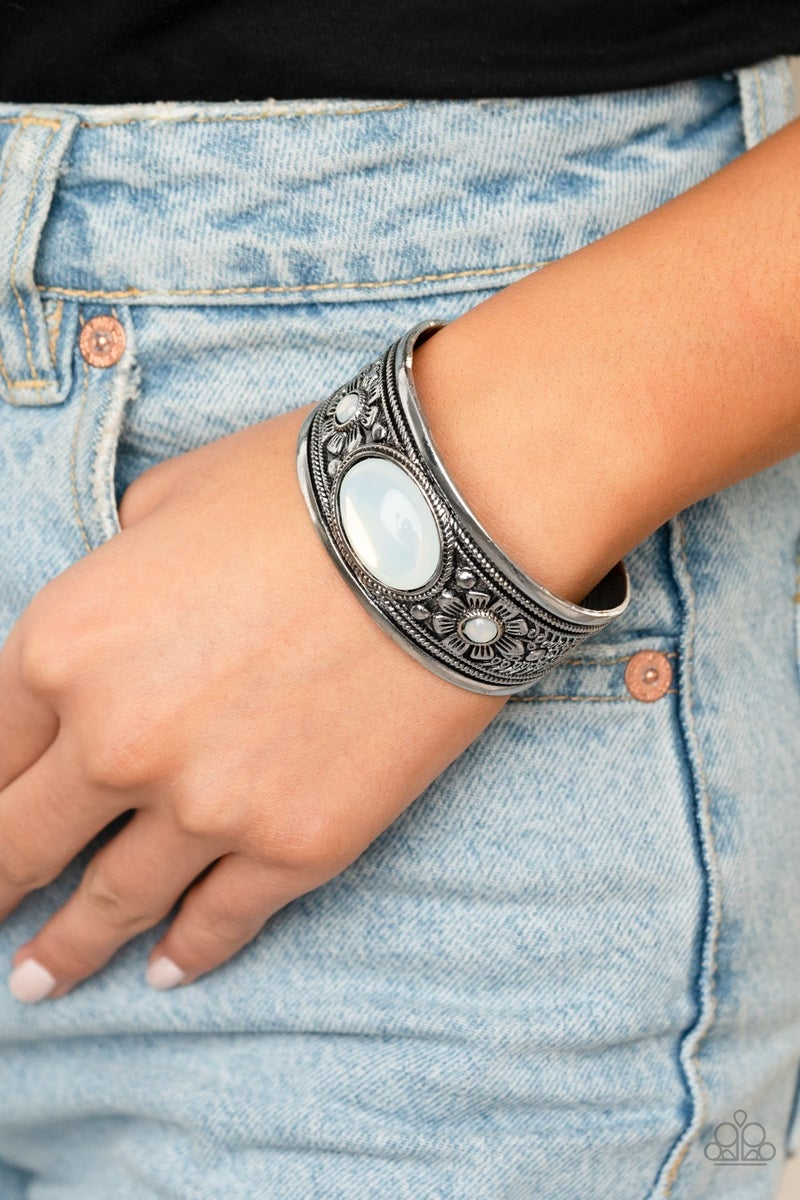 Sage Sanctuary - Silver with White Opalescent Beaded Cuff Bracelet